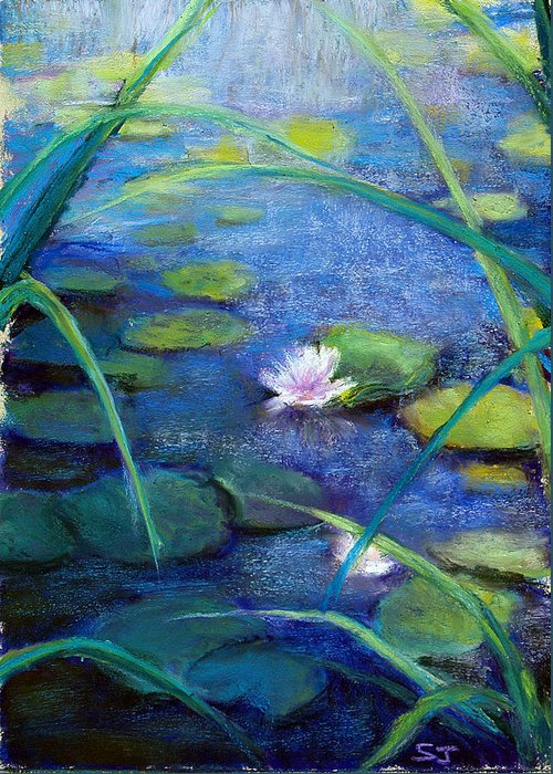 Pond Greeting Card featuring the pastel Monets Garden by Susan Jenkins