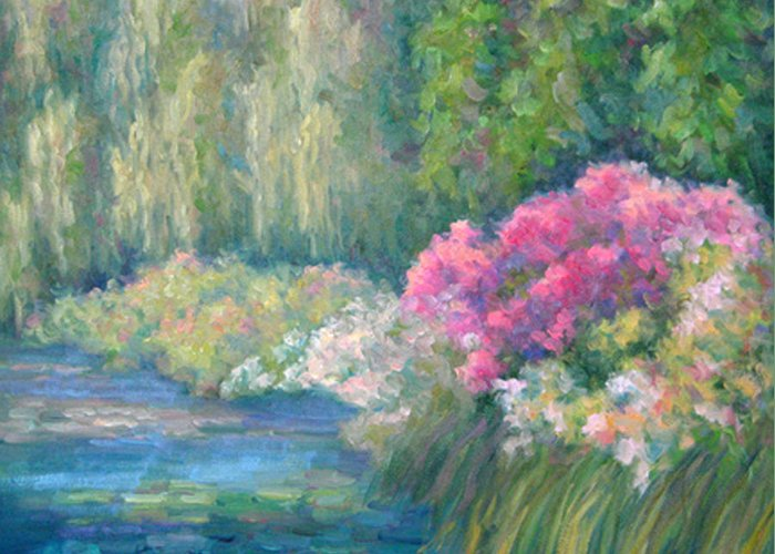 Pond Greeting Card featuring the painting Monet's Pond by Bunny Oliver