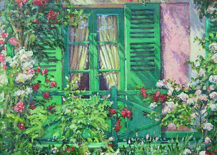 Monets House In Giverny France Greeting Card featuring the painting Monet's Window by L Diane Johnson