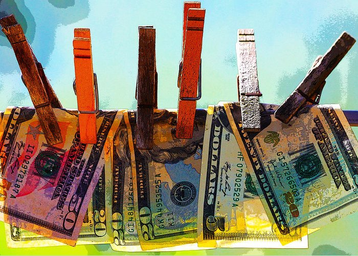 Clothespins Greeting Card featuring the digital art Money Laundering by Karon Melillo DeVega