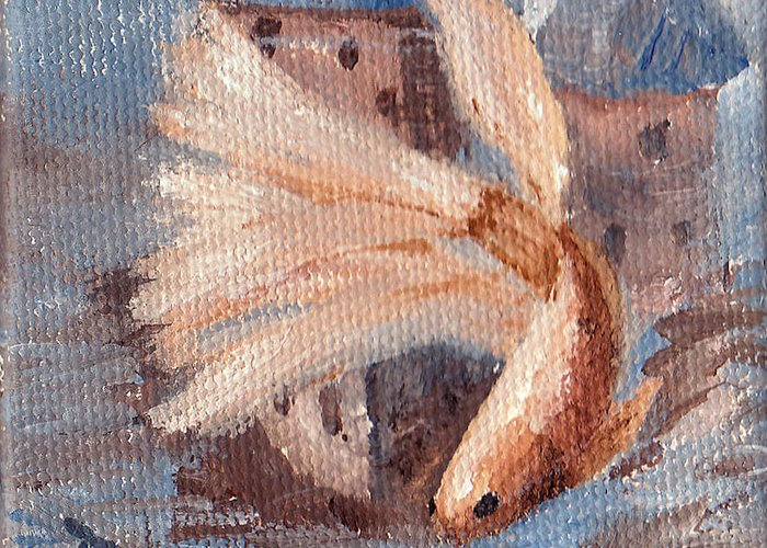Betta Fish Greeting Card featuring the painting Mongo Betta Fish by Brenda Thour
