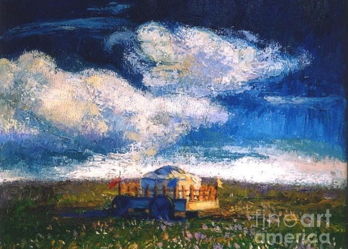 Momgolian Greeting Card featuring the painting Mongolian Home by Meihua Lu