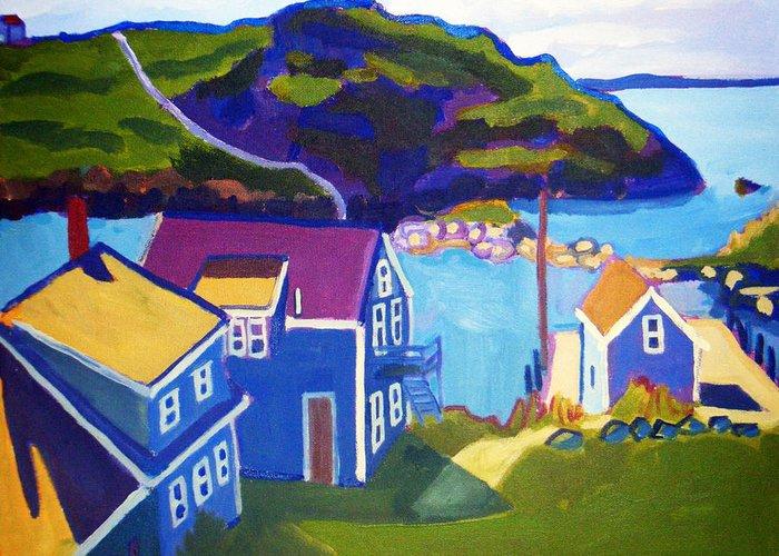 Seascape Greeting Card featuring the painting Monhegan Harbor by Debra Bretton Robinson