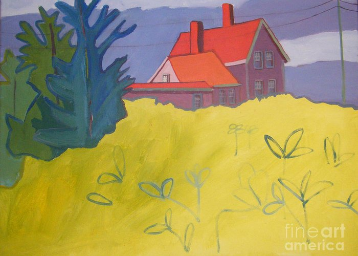 Lighthouse Greeting Card featuring the painting Monhegan Light by Debra Bretton Robinson