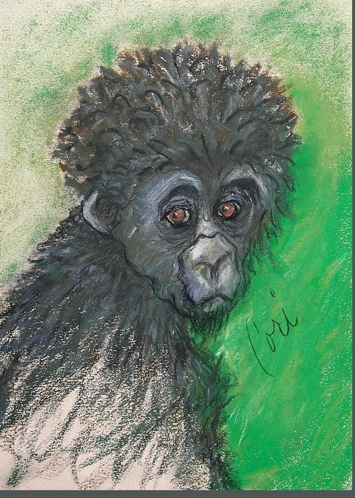 Monkey Greeting Card featuring the drawing Monkey Business by Cori Solomon