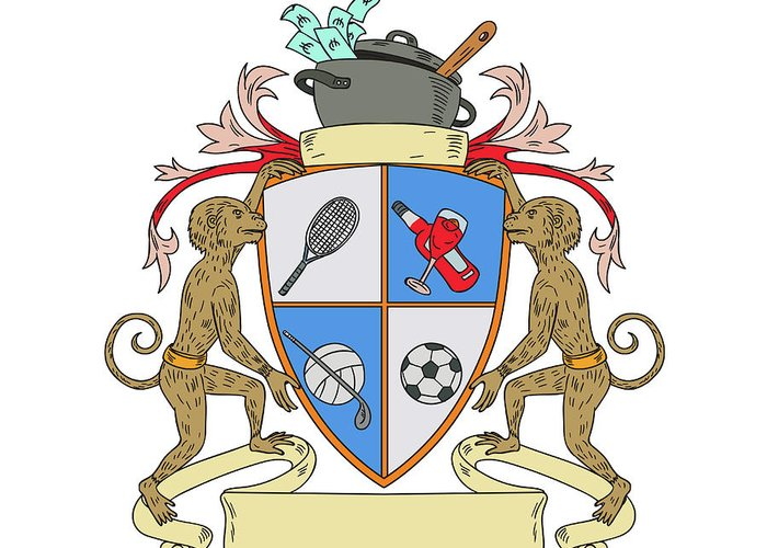Drawing Greeting Card featuring the digital art Monkey Money Cook Pot Sports Wine Coat Of Arms Drawing by Aloysius Patrimonio
