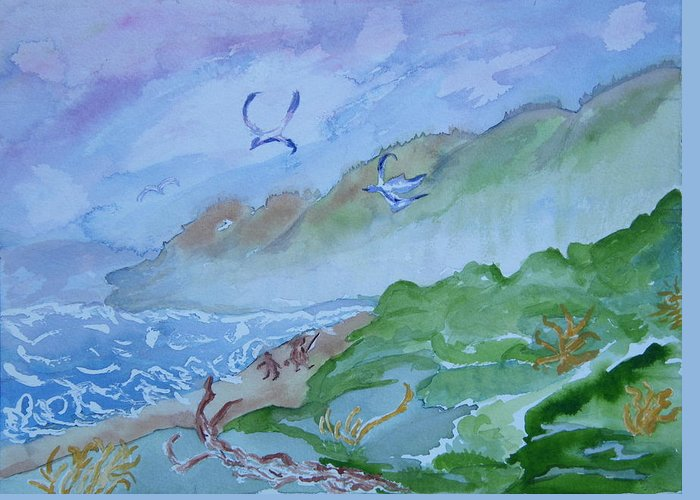 Oregon Greeting Card featuring the painting Monkeys Head Point Oregon by Margaret G Calenda