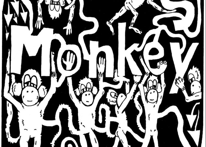 Monkey Greeting Card featuring the drawing Monkeys Maze For M by Yonatan Frimer Maze Artist