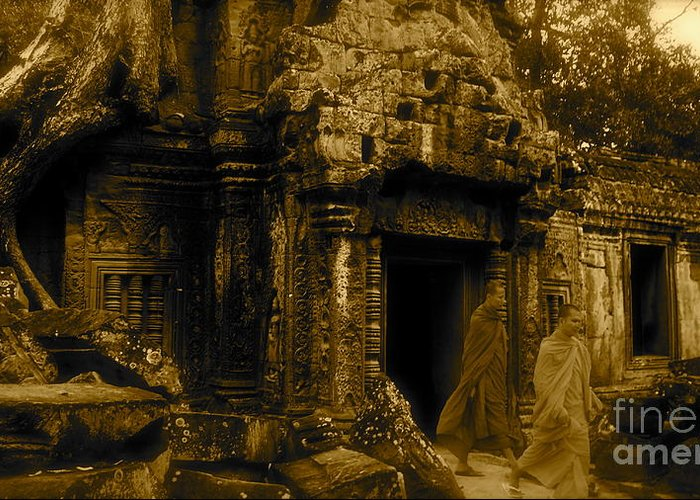 Monk Greeting Card featuring the photograph Monks Leaving Angkor Wat by Louise Fahy