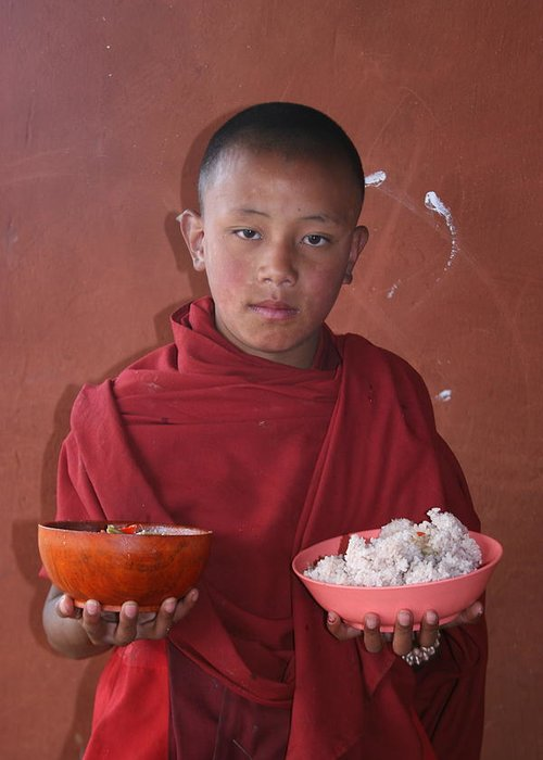 Bhutan Monk Lunch Rice Child Robes Bhutanese Greeting Card featuring the photograph Monks Lunch by Linda Russell