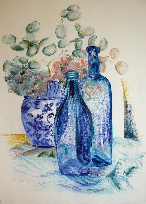 Still Life Greeting Card featuring the drawing Monnaie Bleue by Muriel Dolemieux