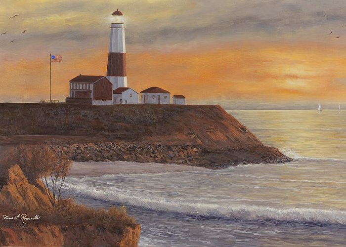 Montauk Pt. Greeting Card featuring the painting Monntauk Lighthouse Sunset by Diane Romanello