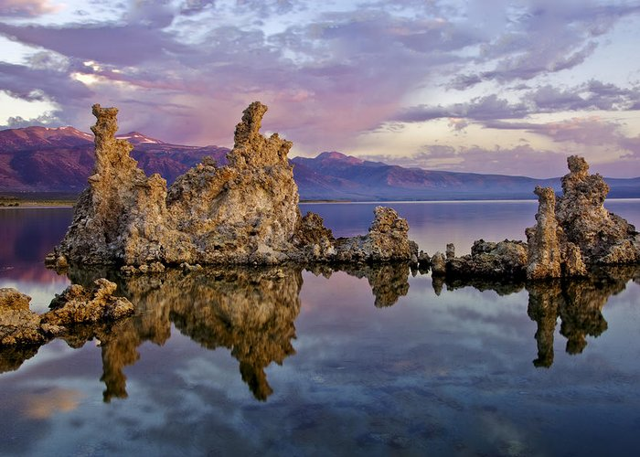 Purple Greeting Card featuring the photograph Mono Lake Sunset by Dave Dilli