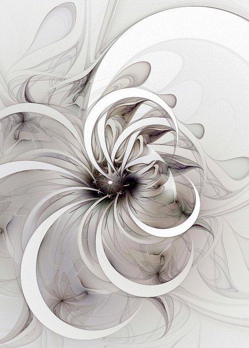 Digital Art Greeting Card featuring the digital art Monochrome Flower by Amanda Moore