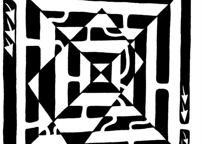 Maze Art Greeting Card featuring the drawing Monolith Maze Optical Illusion by Yonatan Frimer Maze Artist