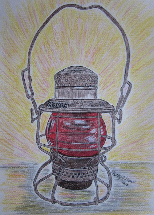 Monon Greeting Card featuring the painting Monon Red Globe Railroad Lantern by Kathy Marrs Chandler
