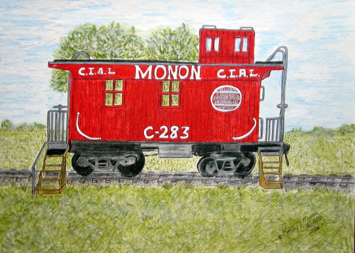 Monon Greeting Card featuring the painting Monon Wood Caboose Train C 283 1950s by Kathy Marrs Chandler