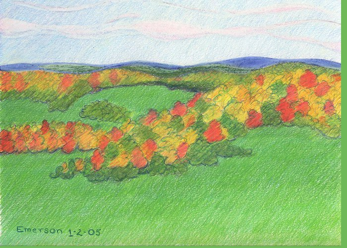Landscape Greeting Card featuring the drawing Monongalia County Autumn by Harriet Emerson