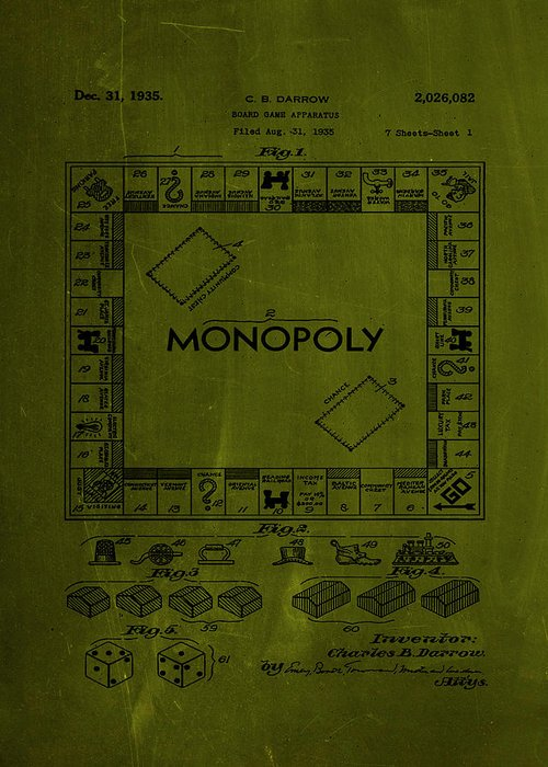 Patent Greeting Card featuring the mixed media Monopoly Board Game Patent Drawing 1a by Brian Reaves