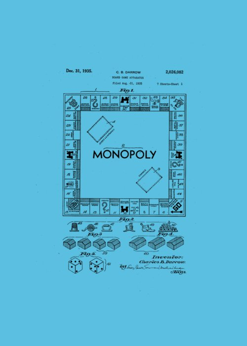Tee Greeting Card featuring the drawing Monopoly Original Patent Art Drawing T-shirt by Edward Fielding