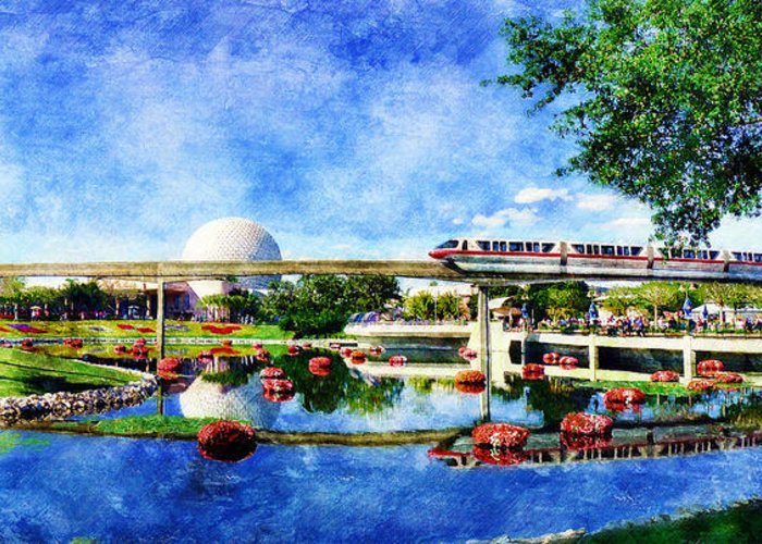 Epcot Greeting Card featuring the digital art Monorail Red - Coming 'Round the Bend by Sandy MacGowan