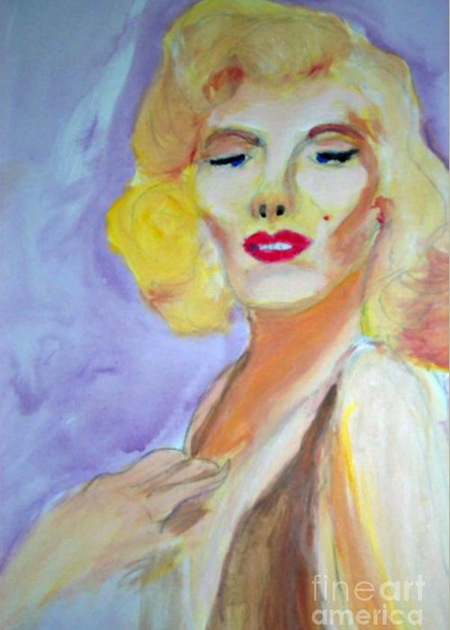 Monroe Greeting Card featuring the painting Monroe by Stanley Morganstein