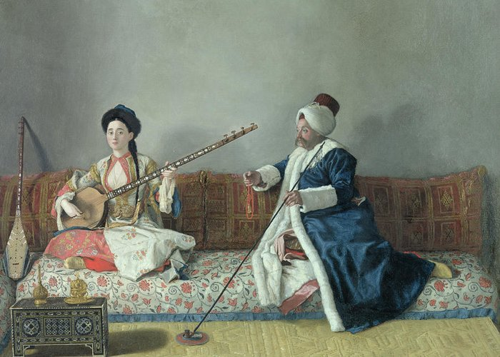 Monsieur Greeting Card featuring the painting Monsieur Levett And Mademoiselle Helene Glavany In Turkish Costumes by Jean Etienne Liotard