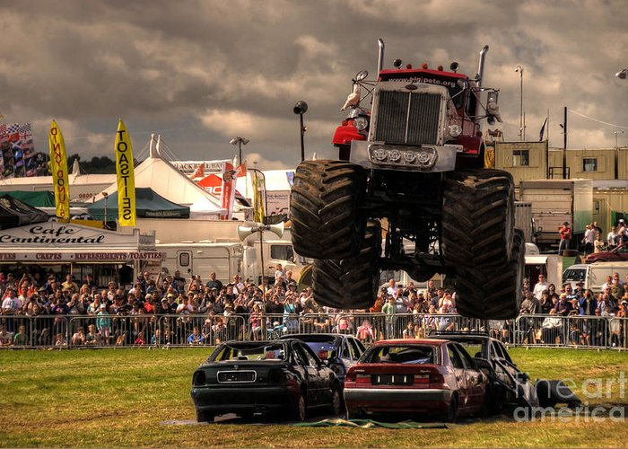 Monster Greeting Card featuring the photograph Monster Truck Destruction by Rob Hawkins
