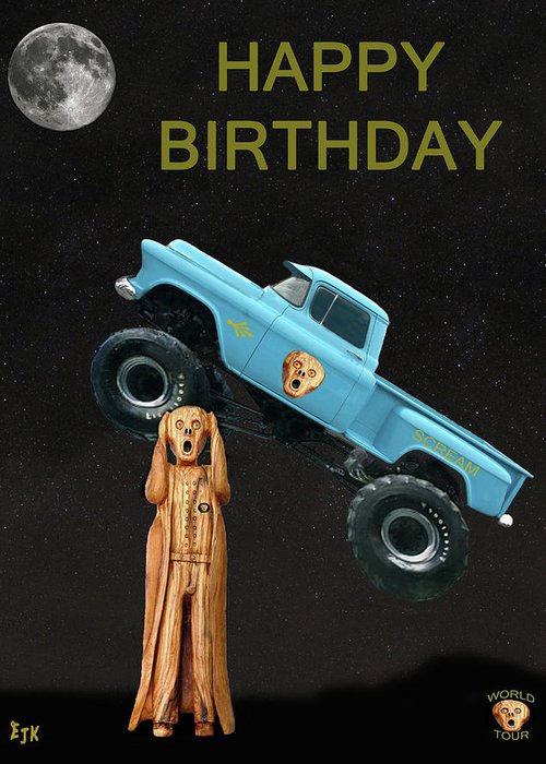 Monster Truck The Scream World Tour Happy Birthday Greeting Card For
