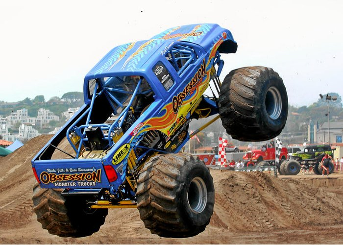 Dirt Greeting Card featuring the photograph Monster Trucks - Big Things Go Boom by Christine Till