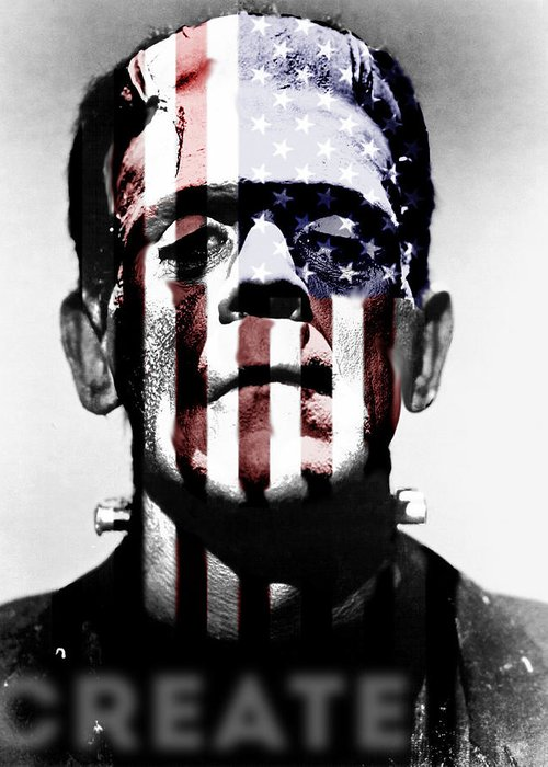 Frankenstein Greeting Card featuring the digital art Monster USA by Create Art