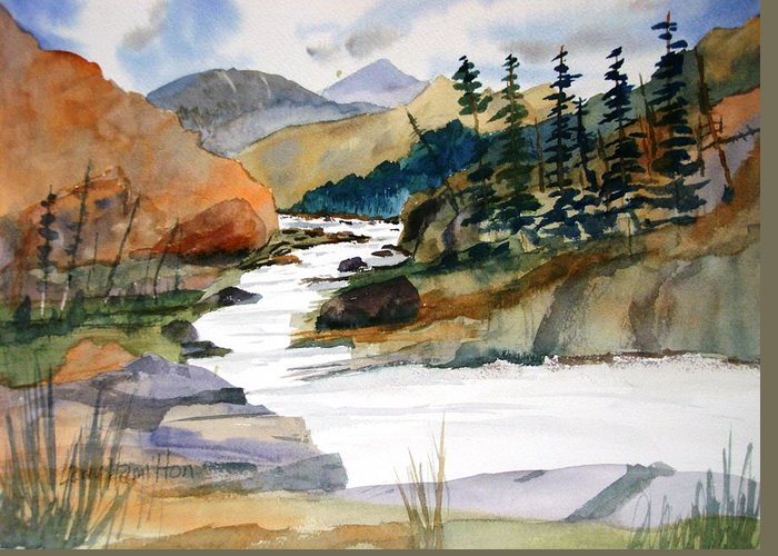 Watercolor Greeting Card featuring the painting Montana Canyon by Larry Hamilton