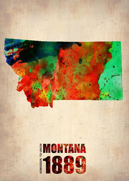 Montana State Map Greeting Cards