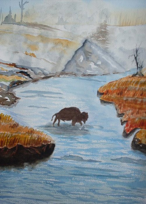 Landscape Greeting Card featuring the painting Montana Wildlife by Warren Thompson