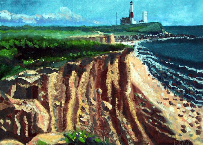 Montauk Greeting Card featuring the painting Montauk Camp Hero 04a by Ralph Papa