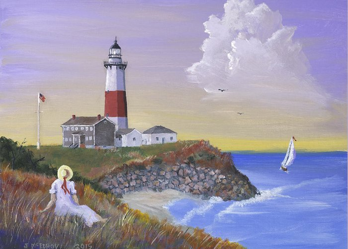 Lighthouse Greeting Card featuring the painting Montauk Lighthouse by Jerry McElroy
