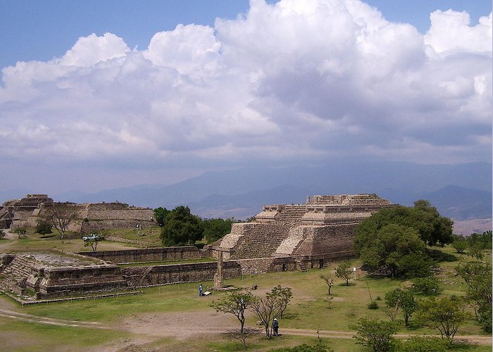 Monte Alban Greeting Card featuring the photograph Monte Alban 2 by Michael Peychich