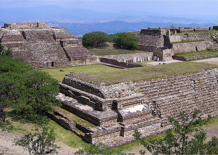 Monte Alban Greeting Card featuring the photograph Monte Alban by Michael Peychich