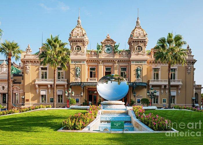 Casino Greeting Card featuring the photograph Monte Carlo Casino And Sky Mirror In Monaco by Elena Elisseeva