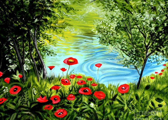 Landscape Greeting Card featuring the painting Monte Rio Poppies by Elizabeth Robinette Tyndall