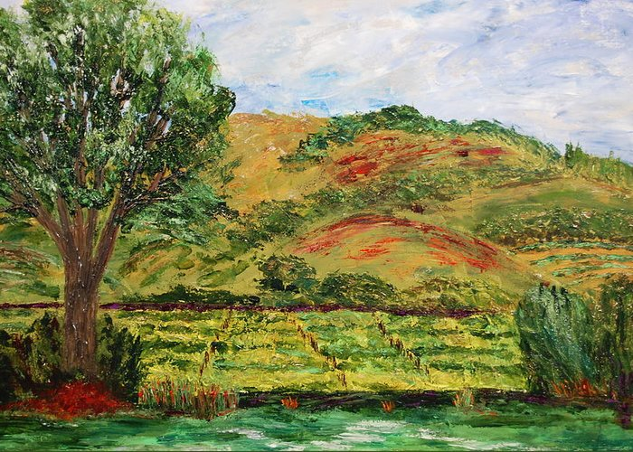 Landscape Greeting Card featuring the painting Montelena Memories by Deborah Gall