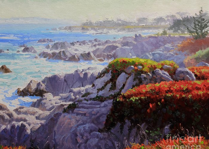 Monteray Bay Greeting Card featuring the painting Monteray Bay Morning 2 by Gary Kim