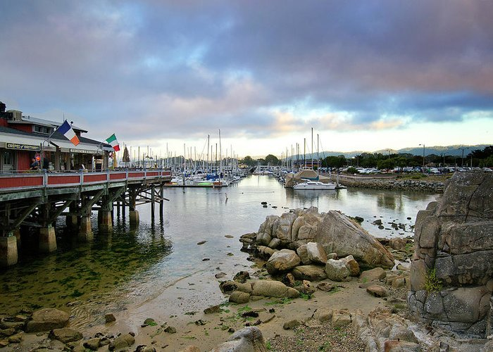 monterey Bay Greeting Card featuring the photograph Monterey Harbor - Old Fishermans Wharf - California by Brendan Reals