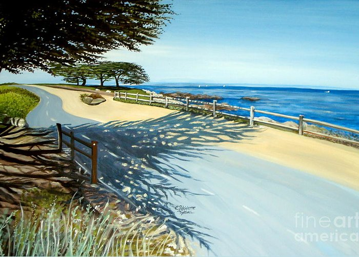 Landscape Greeting Card featuring the painting Monterey Shadows by Elizabeth Robinette Tyndall