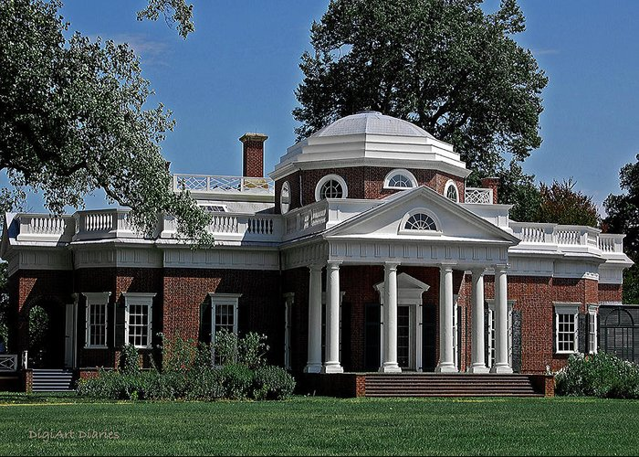 President Greeting Card featuring the digital art Monticello by DigiArt Diaries by Vicky B Fuller