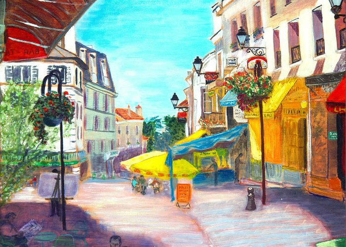 Cityscape Greeting Card featuring the painting Montmorency Center by Aymeric NOA