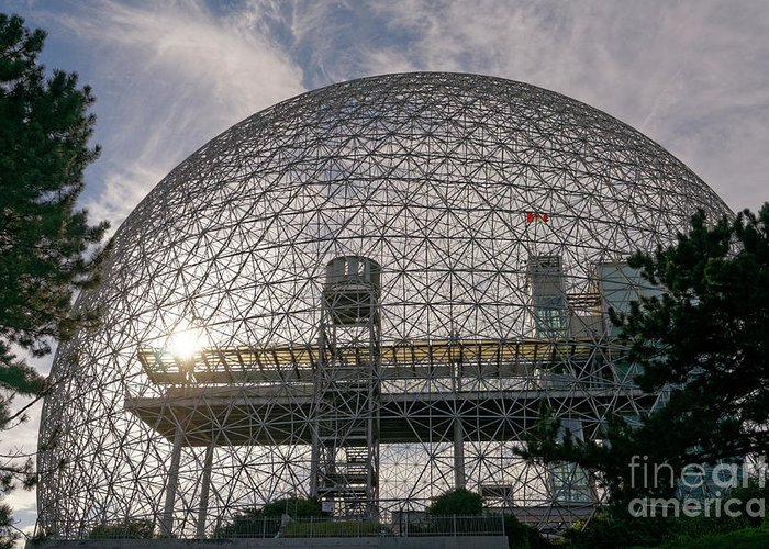 Montreal Greeting Card featuring the photograph Montreal Biosphere 2 by John Mitchell
