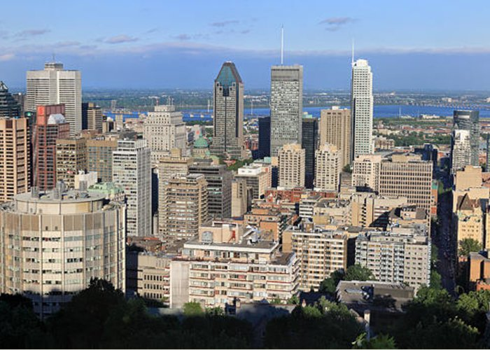 Montreal Greeting Card featuring the photograph Montreal City Panorama From Mount Royal Quebec Canada by Pierre Leclerc Photography