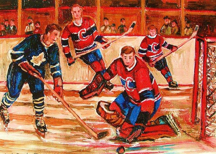 Montreal Forum Hockey Greeting Card featuring the painting Montreal Forum Hockey Game by Carole Spandau
