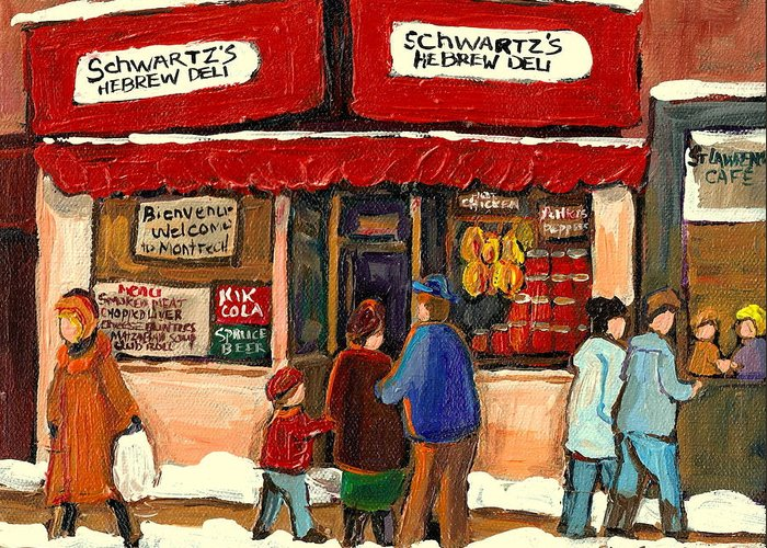 Montreal Hebrew Delicatessen Greeting Card featuring the painting Montreal Hebrew Delicatessen Schwartzs By Montreal Streetscene Artist Carole Spandau by Carole Spandau